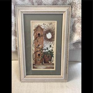Framed birdhouse print